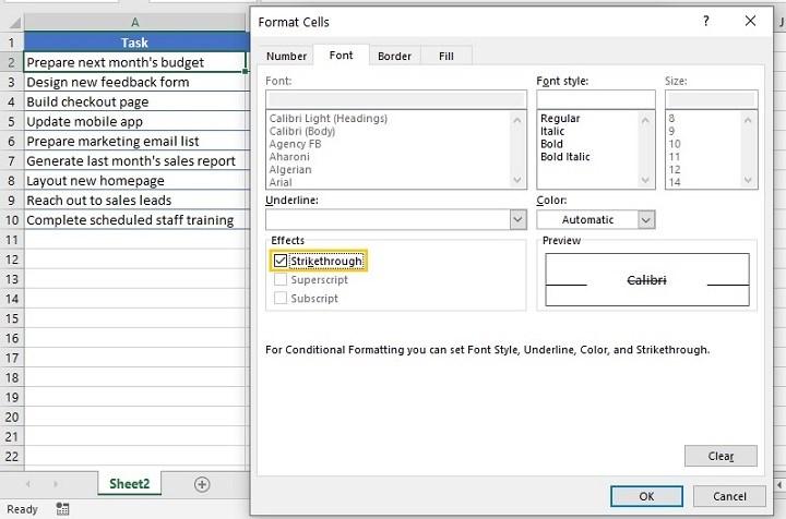 Excel checkbox - conditional formatting