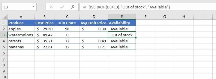 IFERROR Excel - IF ISERROR