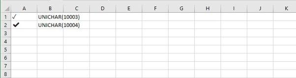 Check mark in Excel - unichar