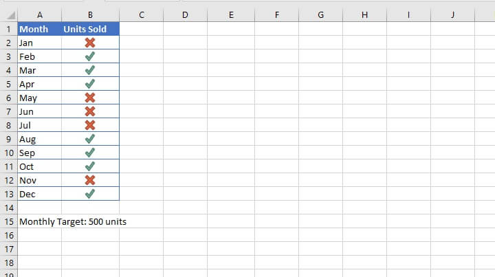 Check mark in Excel - conditional formatting