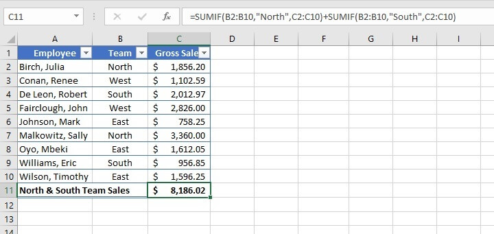 SUM function in Excel - SUMIF