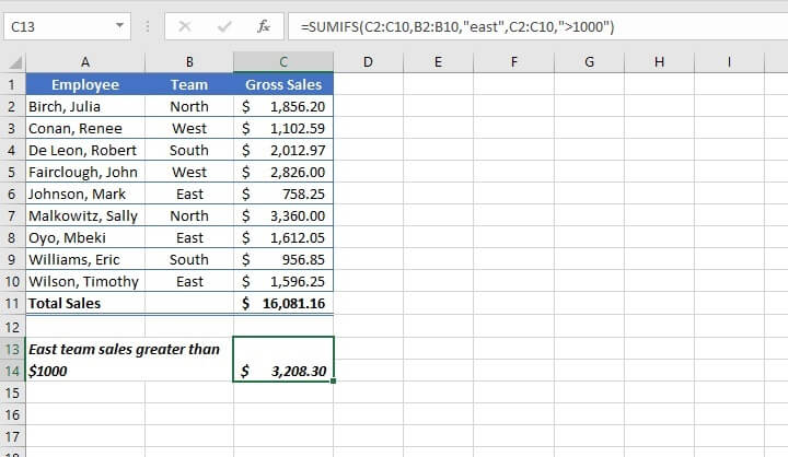 SUM function in Excel - SUMIFS