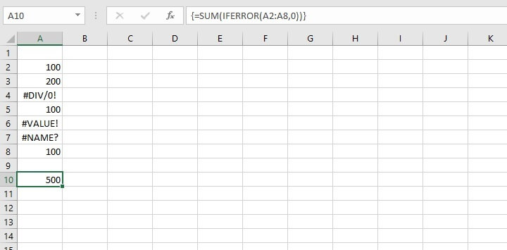 SUM function in Excel - IFERROR