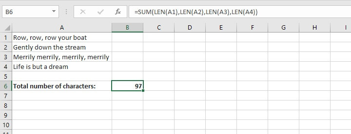 Excel sumproduct function - LEN Function