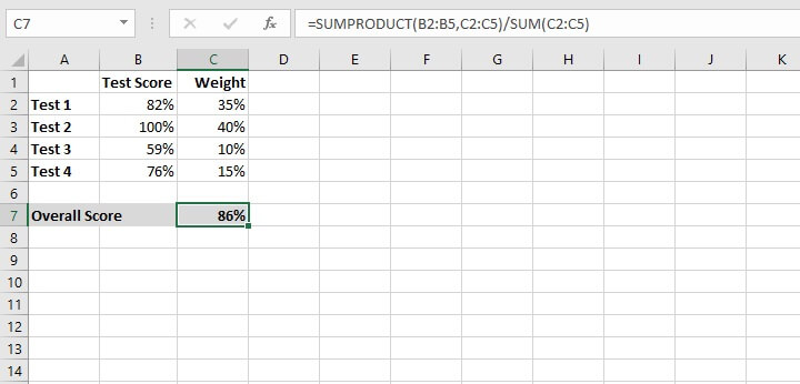Excel sumproduct function - weighted average