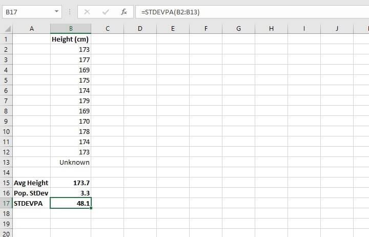 standard deviation formula in Excel