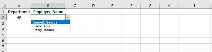 Excel indirect function