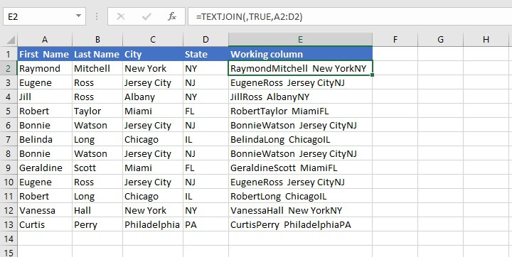 Find duplicates in Excel - TEXTJOIN