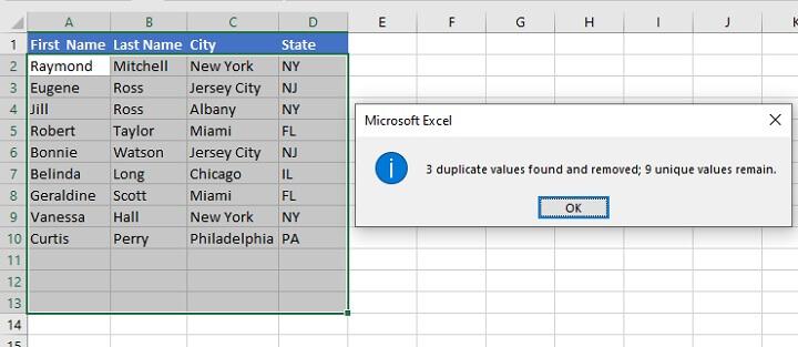Remove duplicates Excel