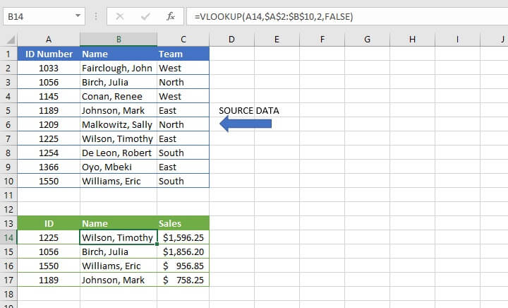 Basic Excel formulas - VLOOKUP