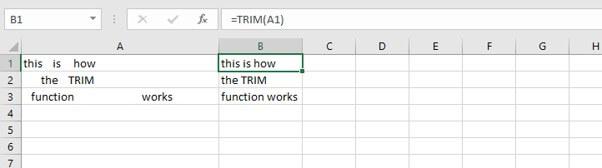 Basic Excel formulas - TRIM function