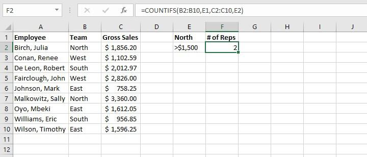 Basic Excel formulas - COUNTIFS function