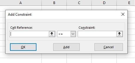 Excel Solver - constraints