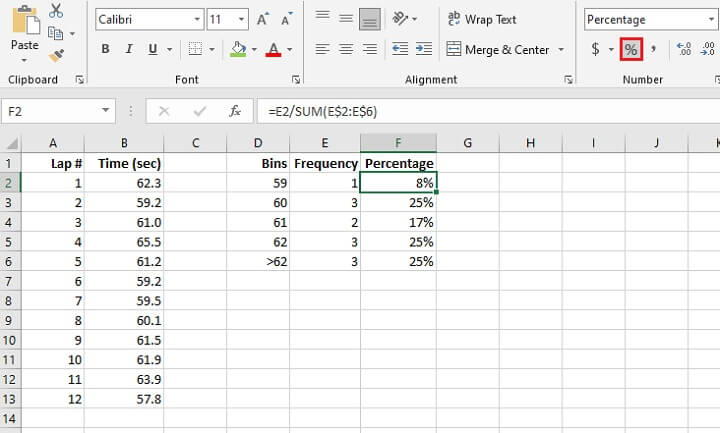 FREQUENCY Excel - percentage