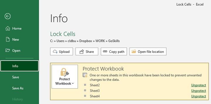 Unlock a worksheet or cells
