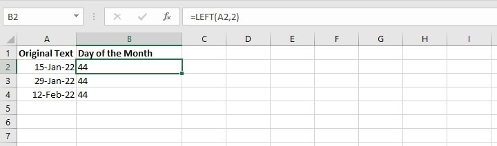 Excel left function