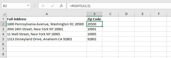 Excel right function