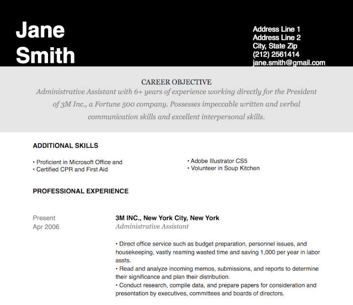 The Black And White Resume  Office Skills Resume
