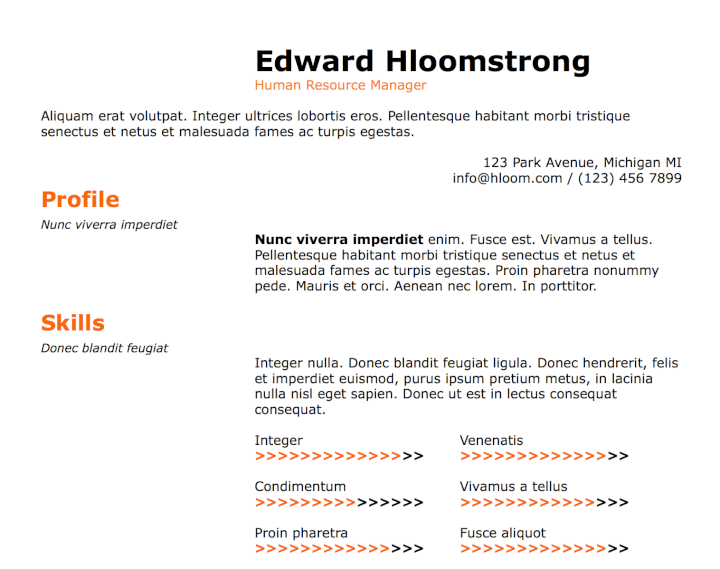 orange resume template
