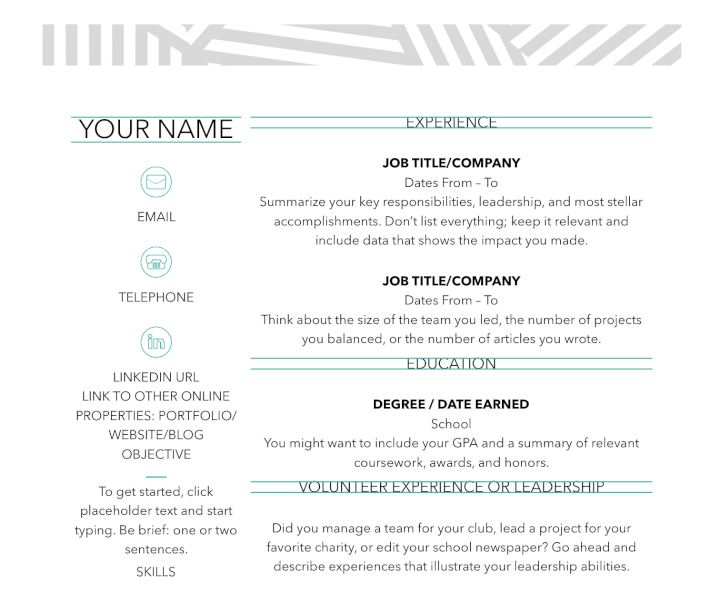 resume header templates