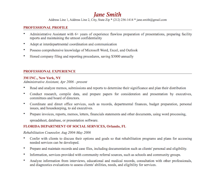 Formal Resume Template  Resume Word Document Template