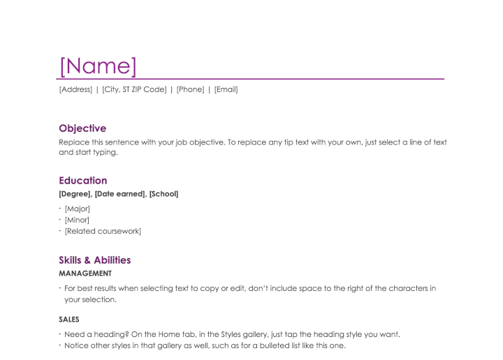 Simple Resume Template Free | 50 Free Microsoft Word Resume Templates That Ll Land You The Job