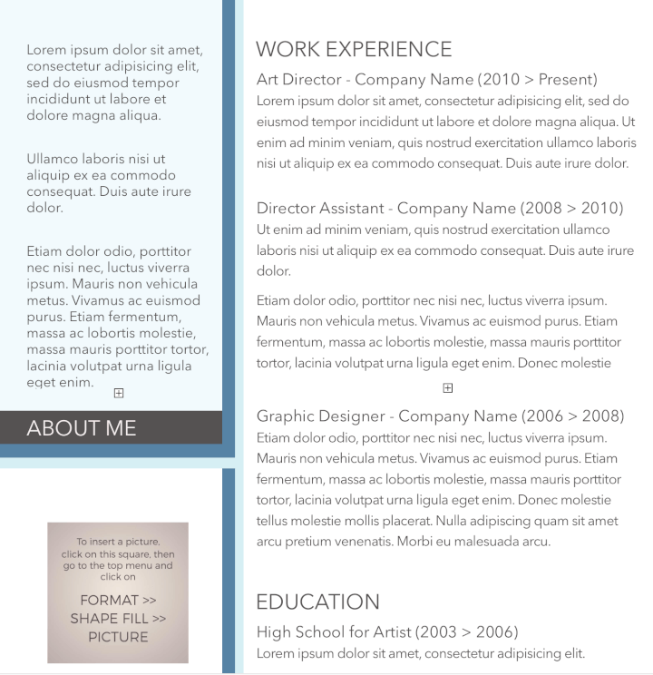 Splash Of Blue Resume Template