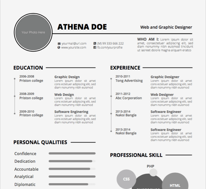 Venn diagram resume template