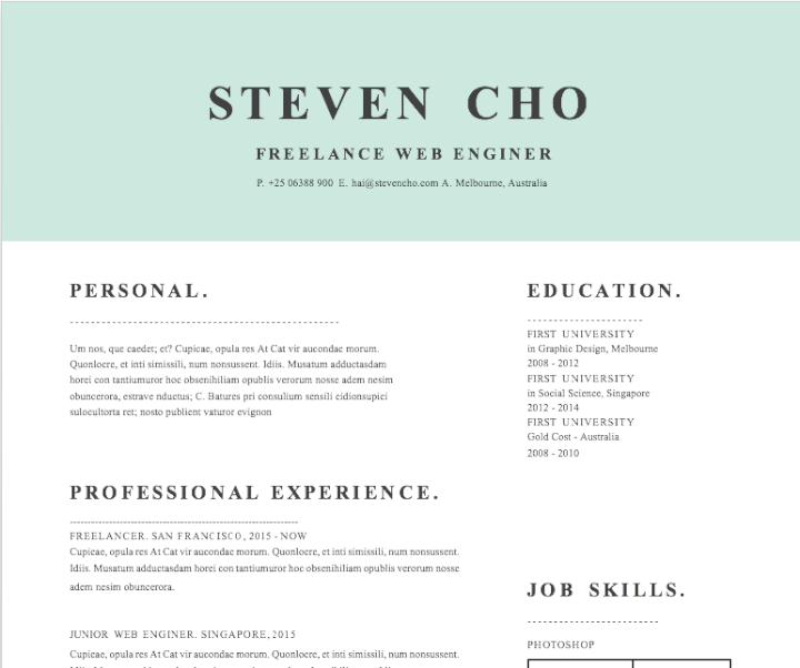 Mint Block Resume Template