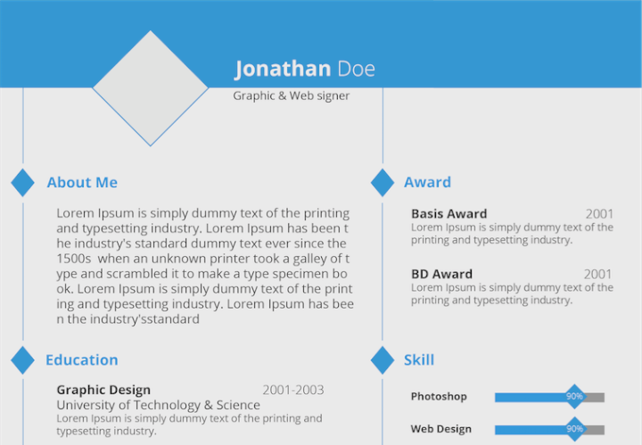 Bold Blue resume template