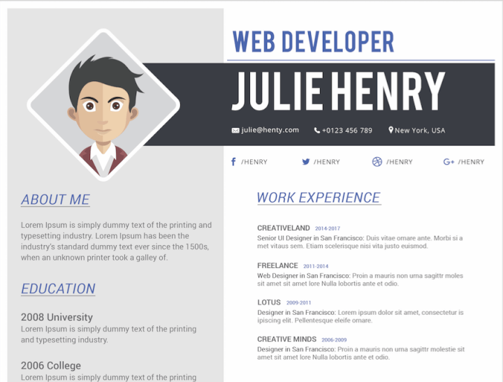 Colorblock resume template