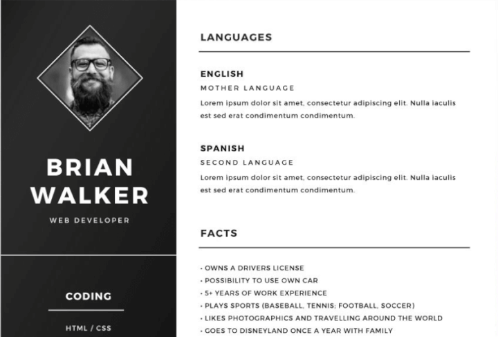 Dark Sidebar Resume Template