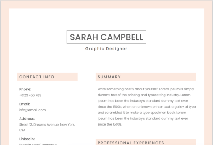 Simple Pink Resume Template  Resume Template Microsoft