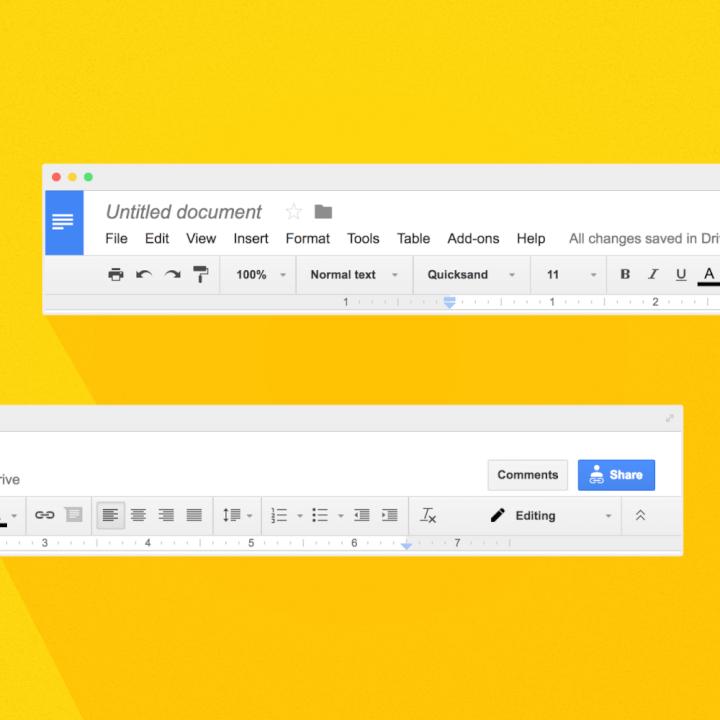Google docs toolbar